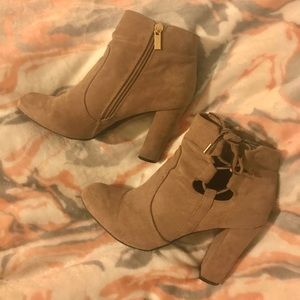 Suede Booties w/lace up detail